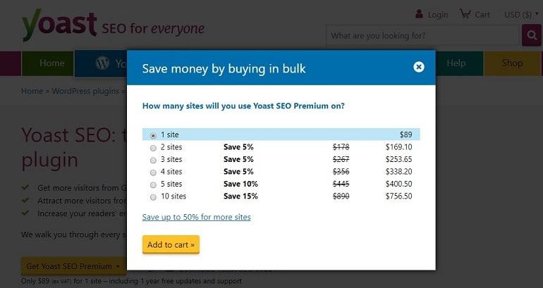 Yoast SEO plugin price