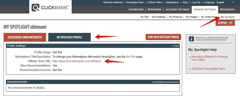 adding an affiliate tool URL in clickbank to Selling as a Vendor With Clickbank