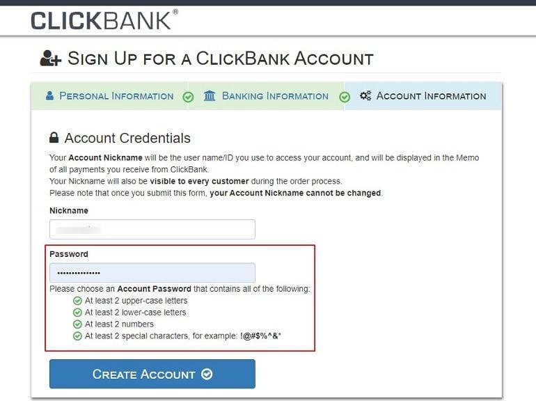 clickbank account info nickname & password