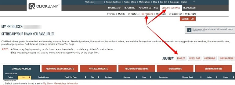 creating new products in clickbank