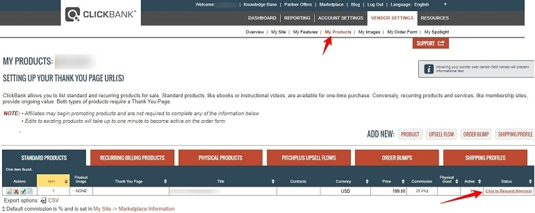 how to request approval for products on clickbank