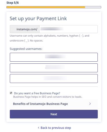 payment link setup instamojo