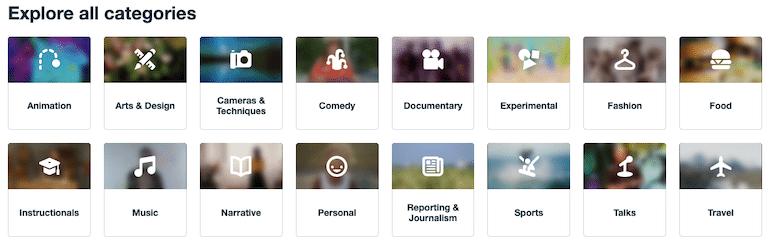 vimeo categories