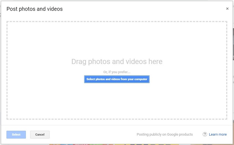 drag photos and videos here window in gmb tool