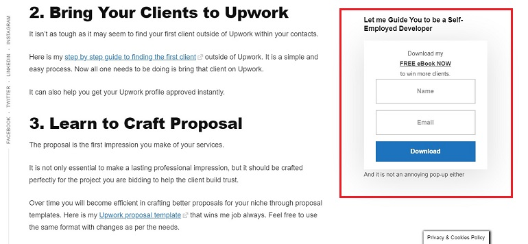 imtips sign up form on righthand sidebar