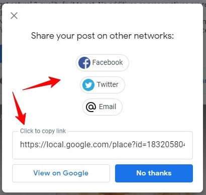 share your post on other network in gmb listing
