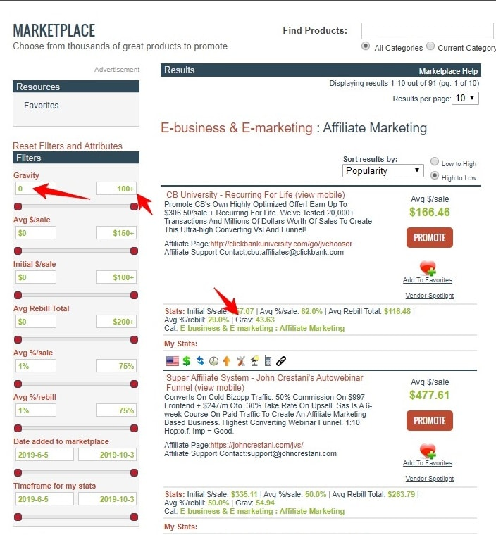 using attributes in clickbank products