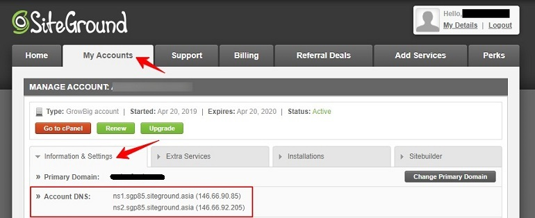Account dns in siteground
