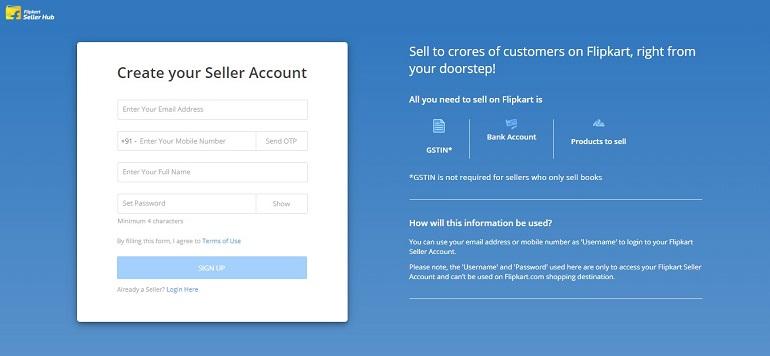Create your seller account in flipkart