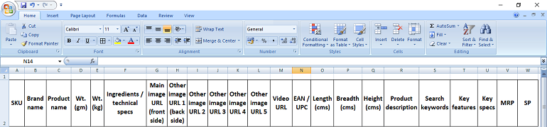Sample Excel sheet to collect product details