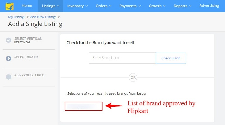 Select one of your recently used brands in flipkart