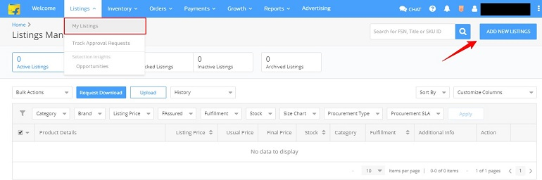 add new listings on listing management page