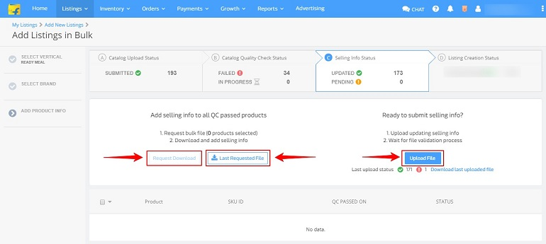 adding selling info status to all QC passed products in flipkart