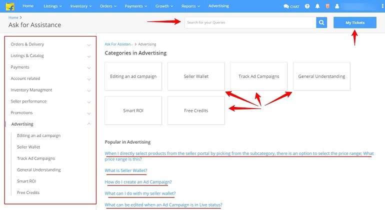 ask for assistance page in flipkart