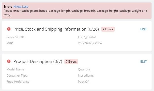 error notification in listings in flipkart