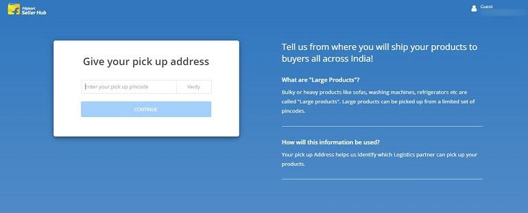 give your pickup address to flipkart