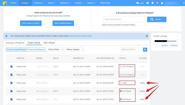 listing status in flipkart