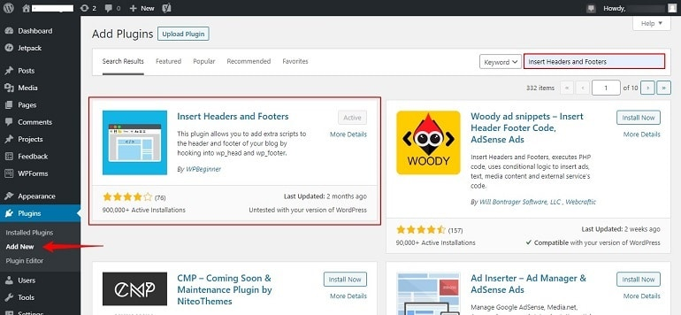 Add insert headers & footers plugins in wordpress