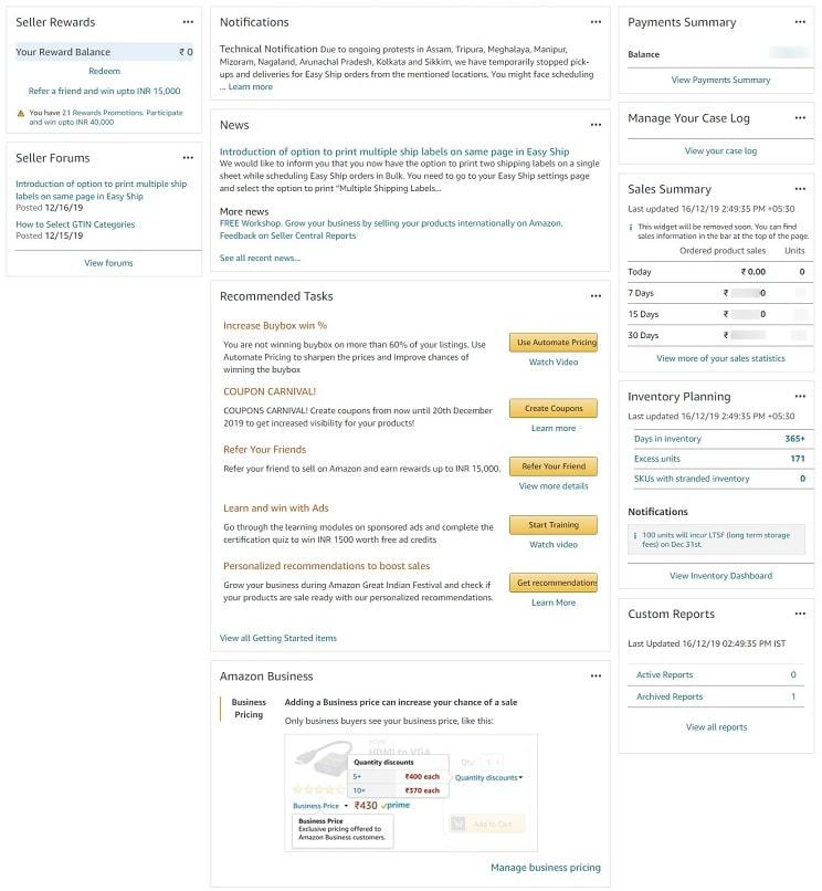 Amazon india seller central dashboard interactive widgets