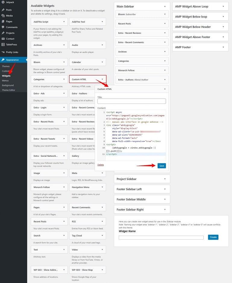 adding adsense code in custom html widget in wordpress