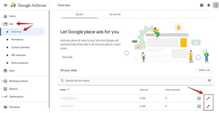 adsense ad settings and preview