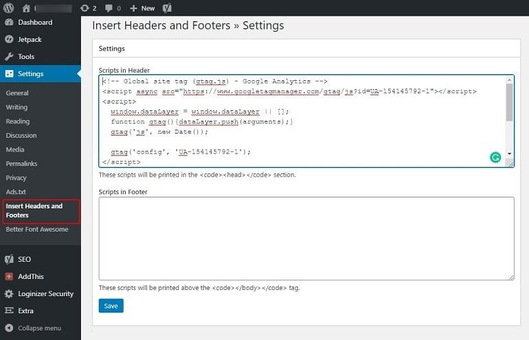 inserting code in the header in wordpress