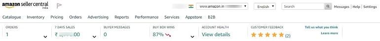 main menu items amazon india dashboard