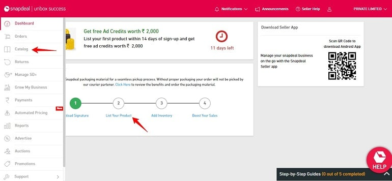 click catalog under seller dashboard in snapdeal