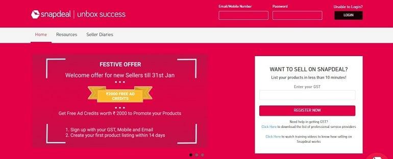 snapdeal seller registration link page