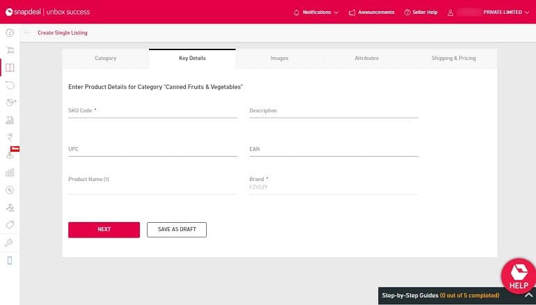 key details in product listing in snapdeal