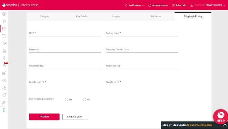 shipping & pricing in product listing in snapdeal
