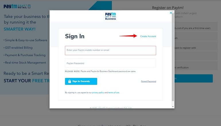 create account in paytm