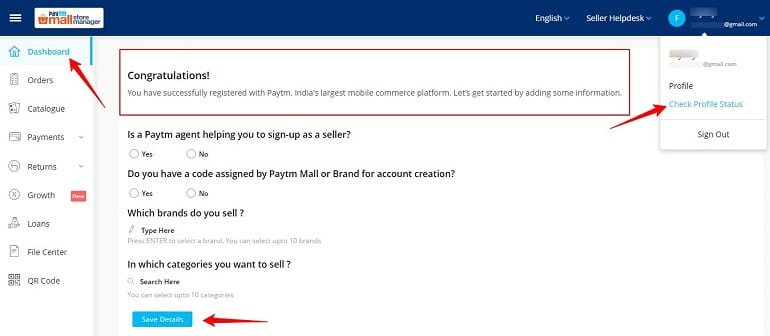 Check Account status in paytm