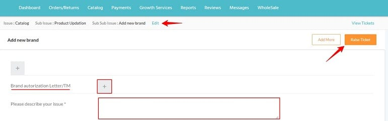 adding documents for brand approval in shopclues