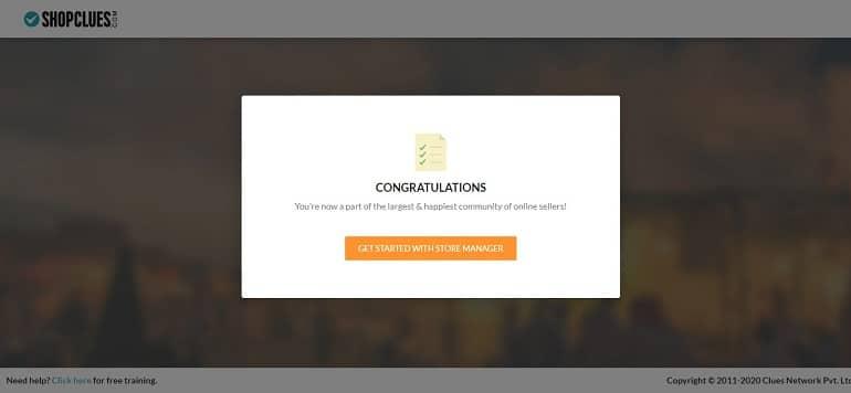 congratulations message upon successful shopclues store registration