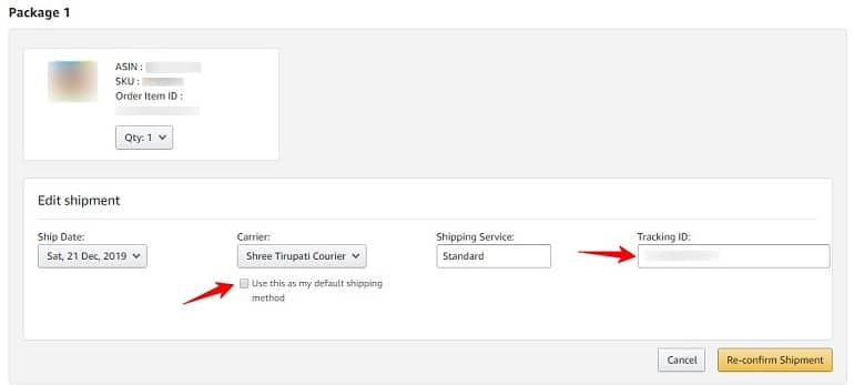 inserting tracking id in the shipment in amazon