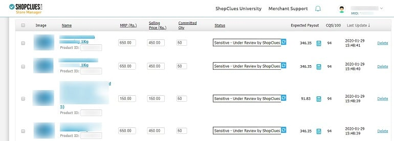 list of products uploaded in bulk in shopclues