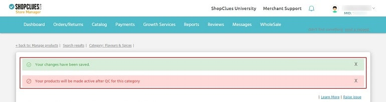 saved changes and OC check message in shopclues