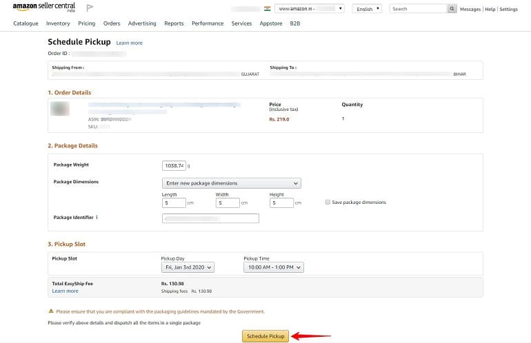 schedule pick in amazon order process 2