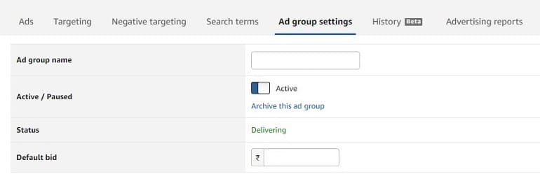ad group settings in amazon
