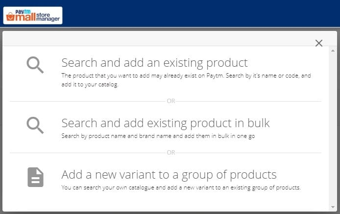 add new product popup window in paytm seller account