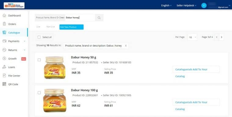 add product using search function in paytmmall