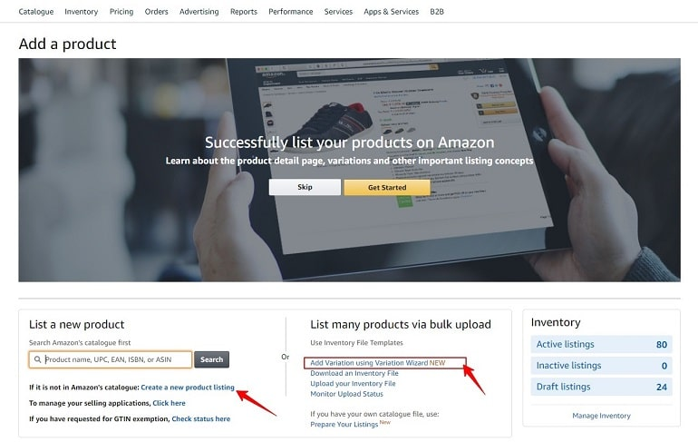 create a new product listing page in amazon india