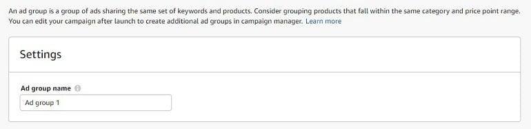 creating ad groups amazon india