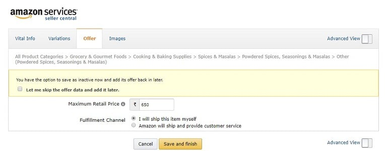 offer tab adding new product in amazon india