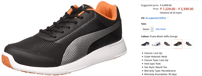 puma product varation in size and color