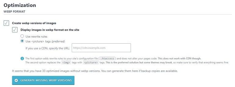 webp format imagify plugin