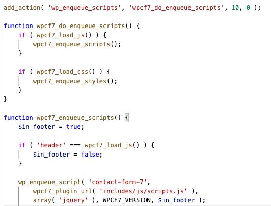CF7 scripts load code