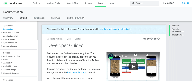Developer Guides Android Developers