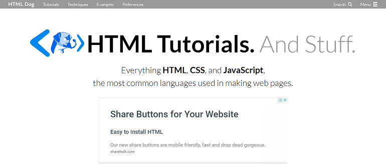 HTML CSS and JavaScript Tutorials References and Articles HTML Dog